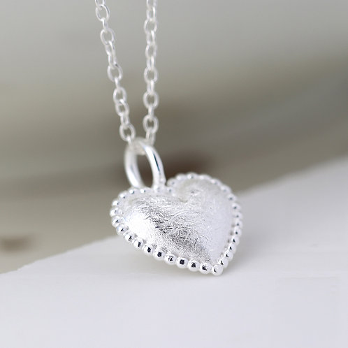 Scratched Silver Heart Necklace with dotty edge