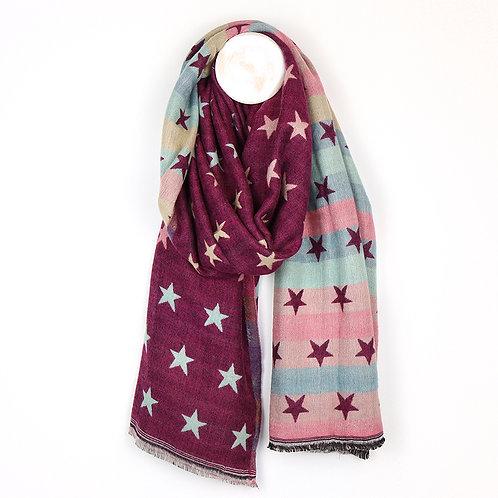 Cherry Multicoloured Pastel Jacquard Stars Scarf