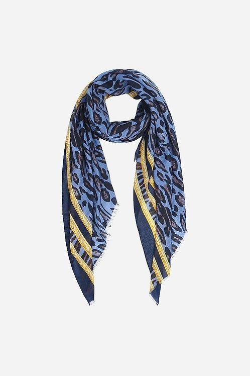 Blue\Yellow Leopard Print Scarf