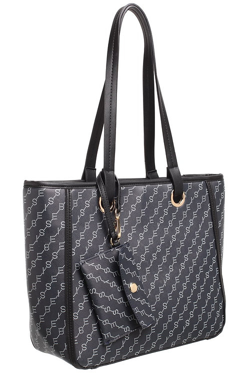 BESSIE PRINT SHOULDER BAG WITH CARD HOLDER - NAVY