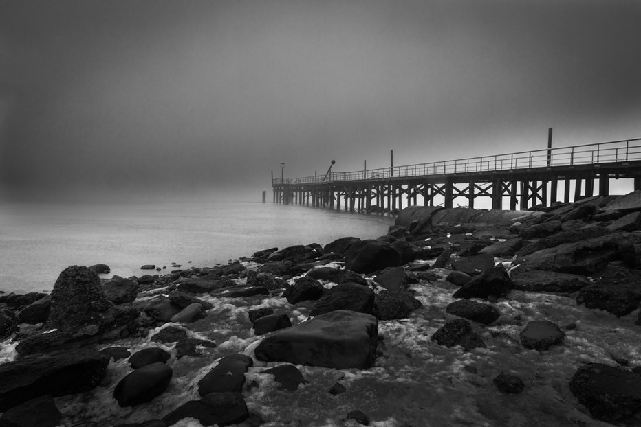 Pier in Snow and Fog