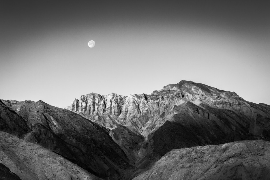 Moon Setting Over Badlands