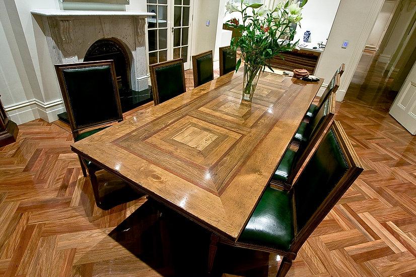 Single Pedestal  checker board parquetry table