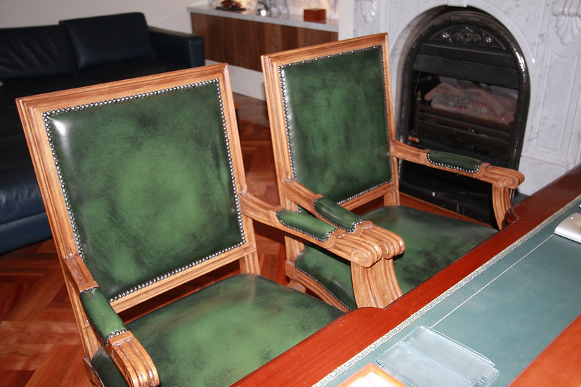 Neo-Classical Arm Chairs in Leather