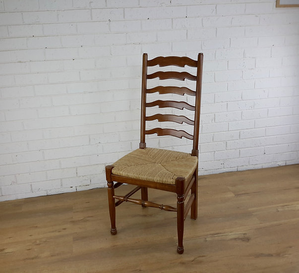 Provincial Ladder back chair with  with rush seat
