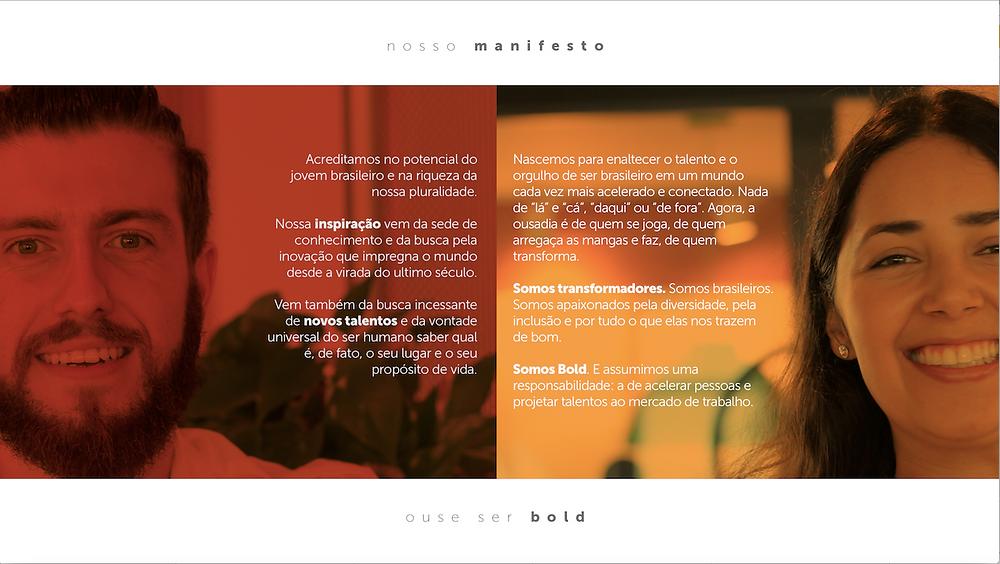 Figura 1: Manifesto do Instituto BOLD