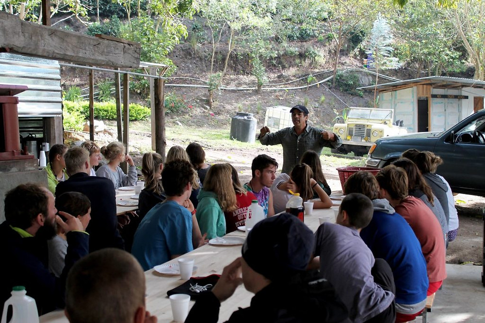 Carlos Montero teaches OceanCollege students about coffee production on his farm in Tarrazú, Costa Rica. Credit: OceanCollege