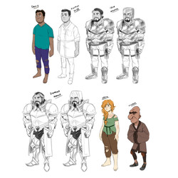 "character designs, ""On Strange Shores"""