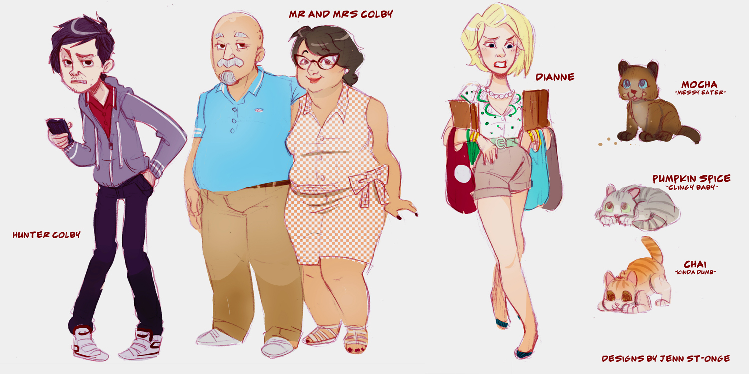 """character designs, """"Finding Molly: An Adventure in Catsitting"""""""