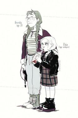 """character design, """"Brenda & Elsie"""""""