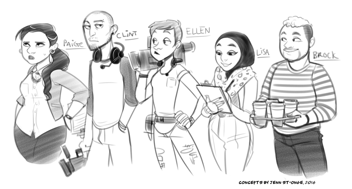 """character designs, """"The Misfits"""""""