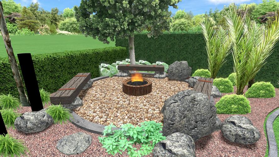 3D Firepit garden design