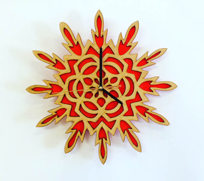 Mandala Clock (cherry and perspex)