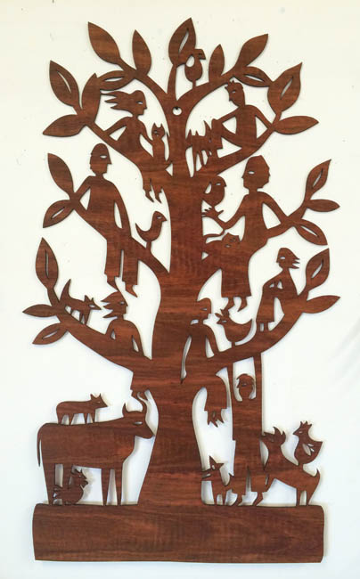 Family Tree (jarrah woodcut)
