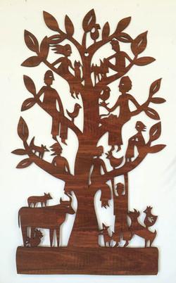 Family Tree (jarrah woodcut)