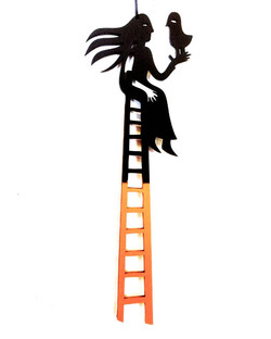 Girl and Bird on Ladder