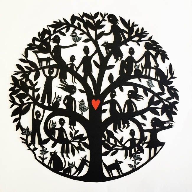 Mandala Family Tree (handcut with heart)