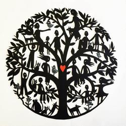 Mandala Family Tree (handcut with heart)