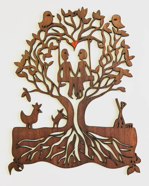 Family Tree Commission- jarrah woodcut