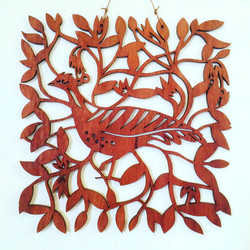 Malleefowl with Wildflowers (jarrah woodcut)