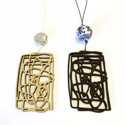 Scribble pendants (cherry and jarrah)