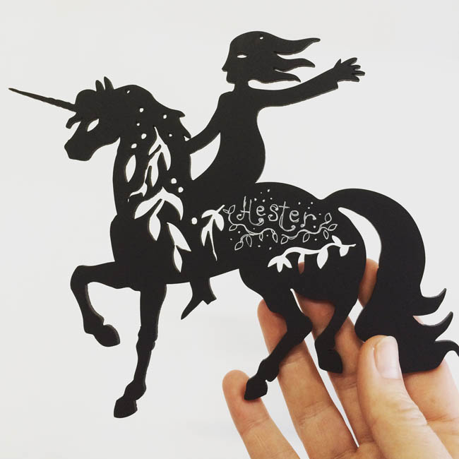 Girl with Unicorn personalised woodcut