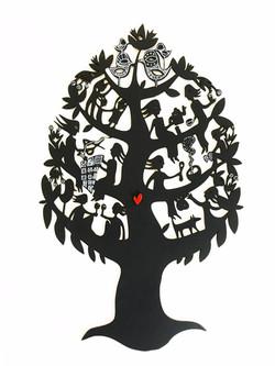 Friendship Tree woodcut