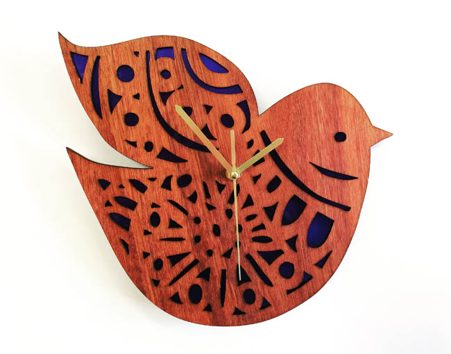 Nordic Bird Clock (jarrah and perspex)