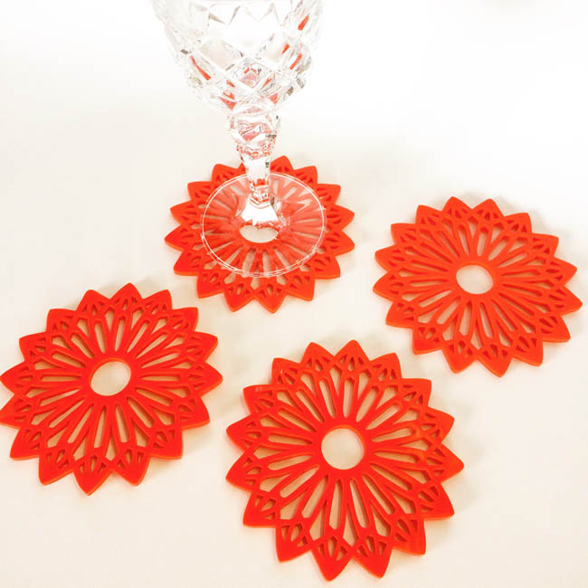 Mandala perspex coasters (red)