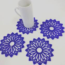 Mandala perspex coasters (blue)