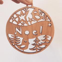 Noel Xmas woodcut in cherry