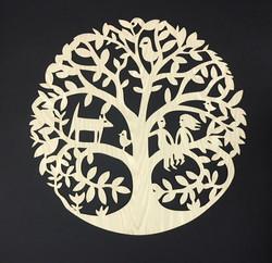 Mandala Family Tree in cherry wood
