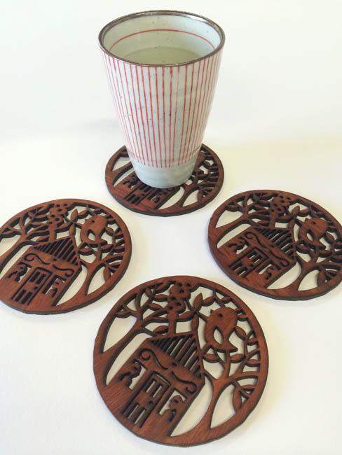 Birdhouse jarrah coasters