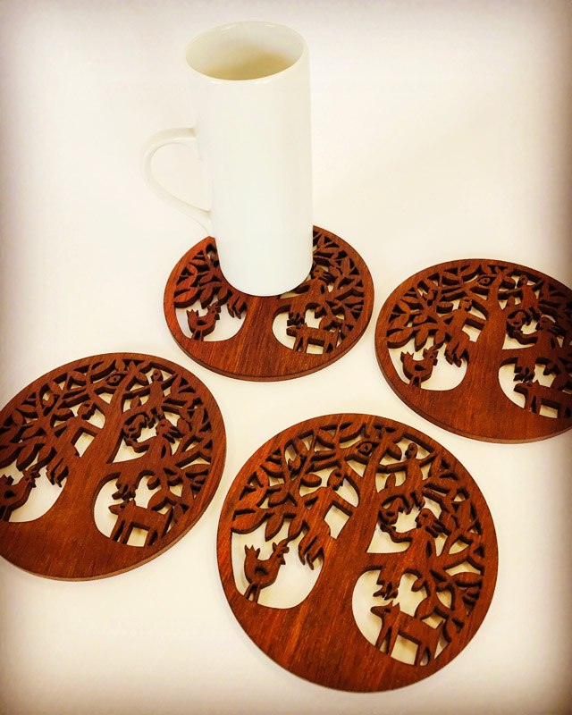 Family Tree jarrah coasters