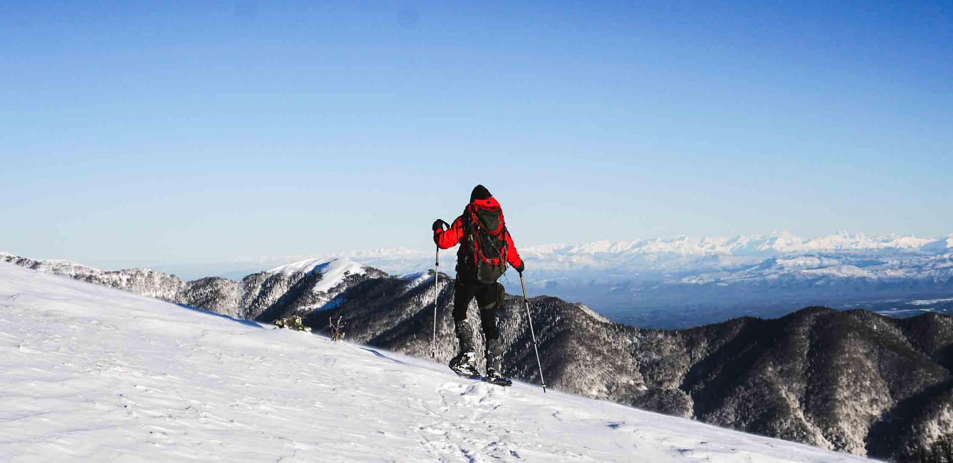 Winter snowshoe trail hiking tour Borjom