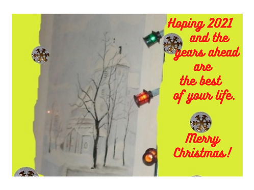 """Christmas Card """"Best Years - red letters"""""""
