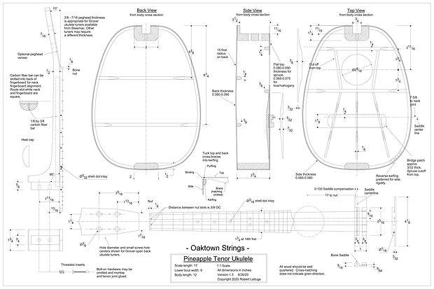 free tenor pineapple ukulele plans, tenor pineapple ukulele drawing, tenor pineapple ukulele build, engineering drawing, mechanical drawing,