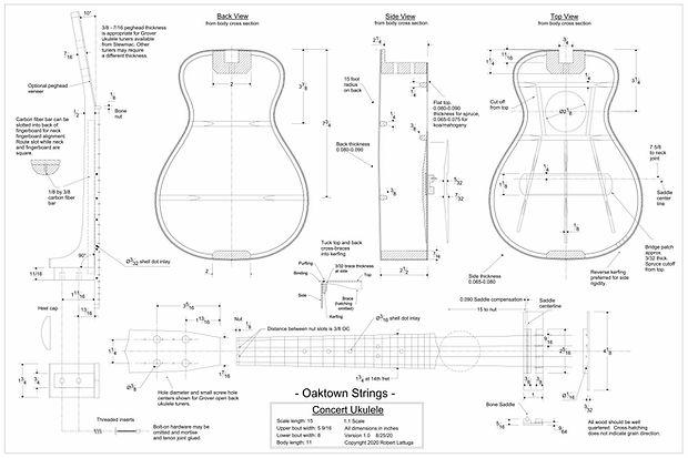 free concert ukulele plans, concert ukulele drawing, concert ukulele build, engineering drawing, mechanical drawing,