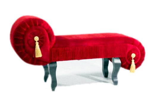 Posing Sofa in Red Velvet Finish