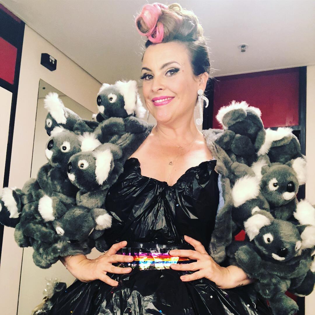 Ali in her garbage bag dress & Koala