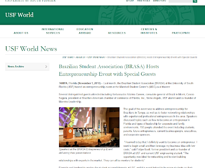 USF World Covers Entrepreneurship Event on campus