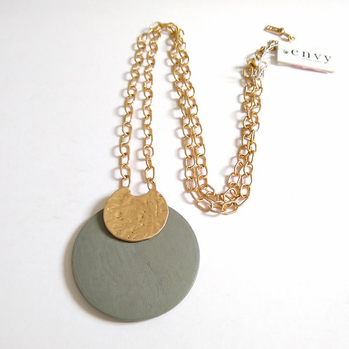 Envy Green and Vintage Gold Necklace