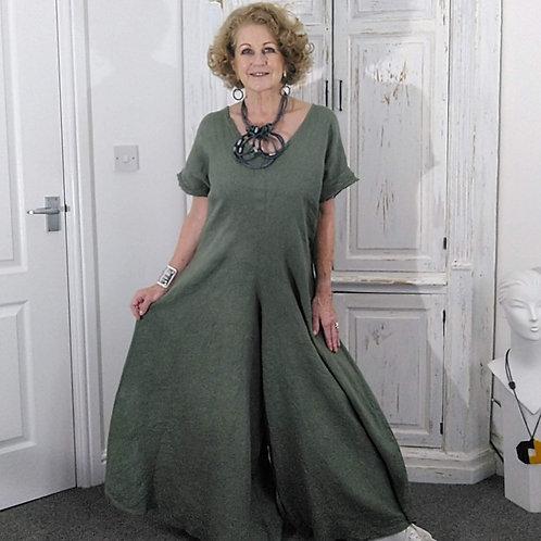 Khaki Linen Shaped Culottes