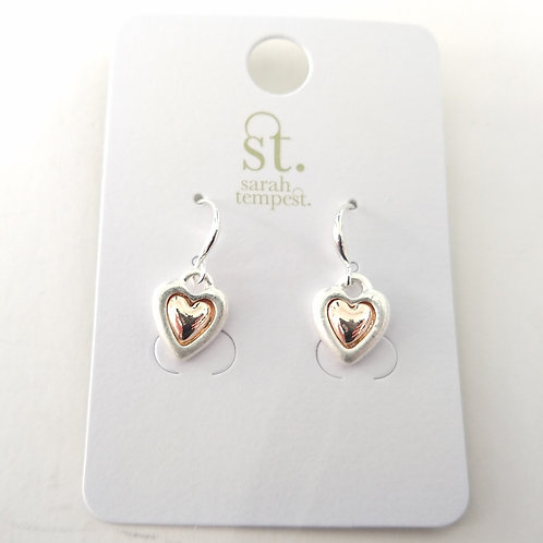 Two Colour Heart Charm Earrings