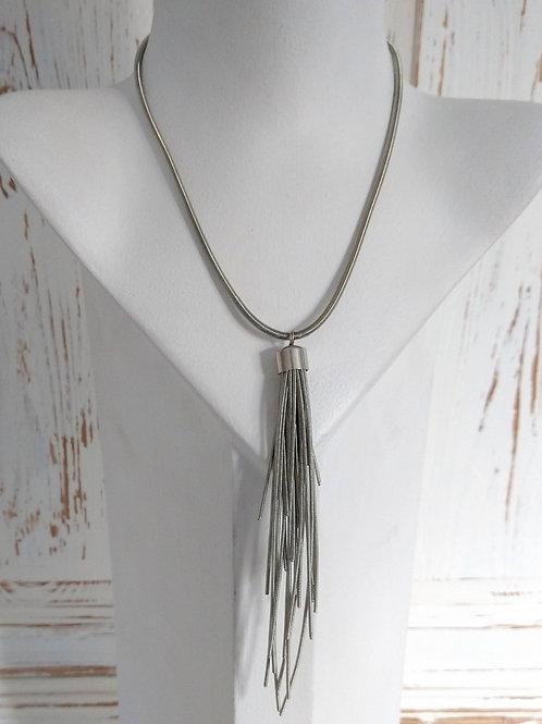 Etnika Silver Metal Tassel Necklace