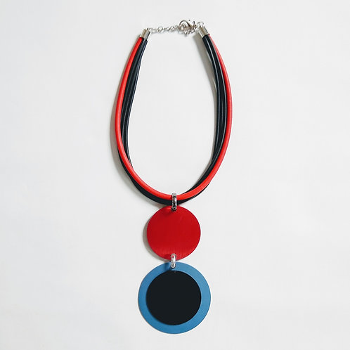 Rubber with Red and Blue Alloy Disc Short Necklace