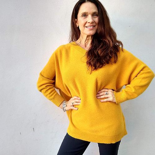 Plain Neck Mustard Jumper by Alpini Knitwear