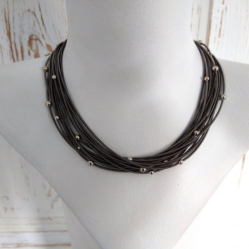 Etnika Short  Charcoal Metal Coil Necklace