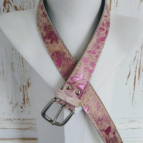 Metallic Pink Animal Effect Leather Belt