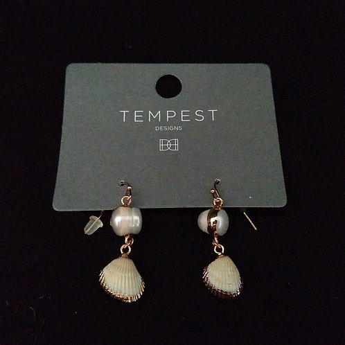 Mini Shell Gold and Pearl Drop Earrings